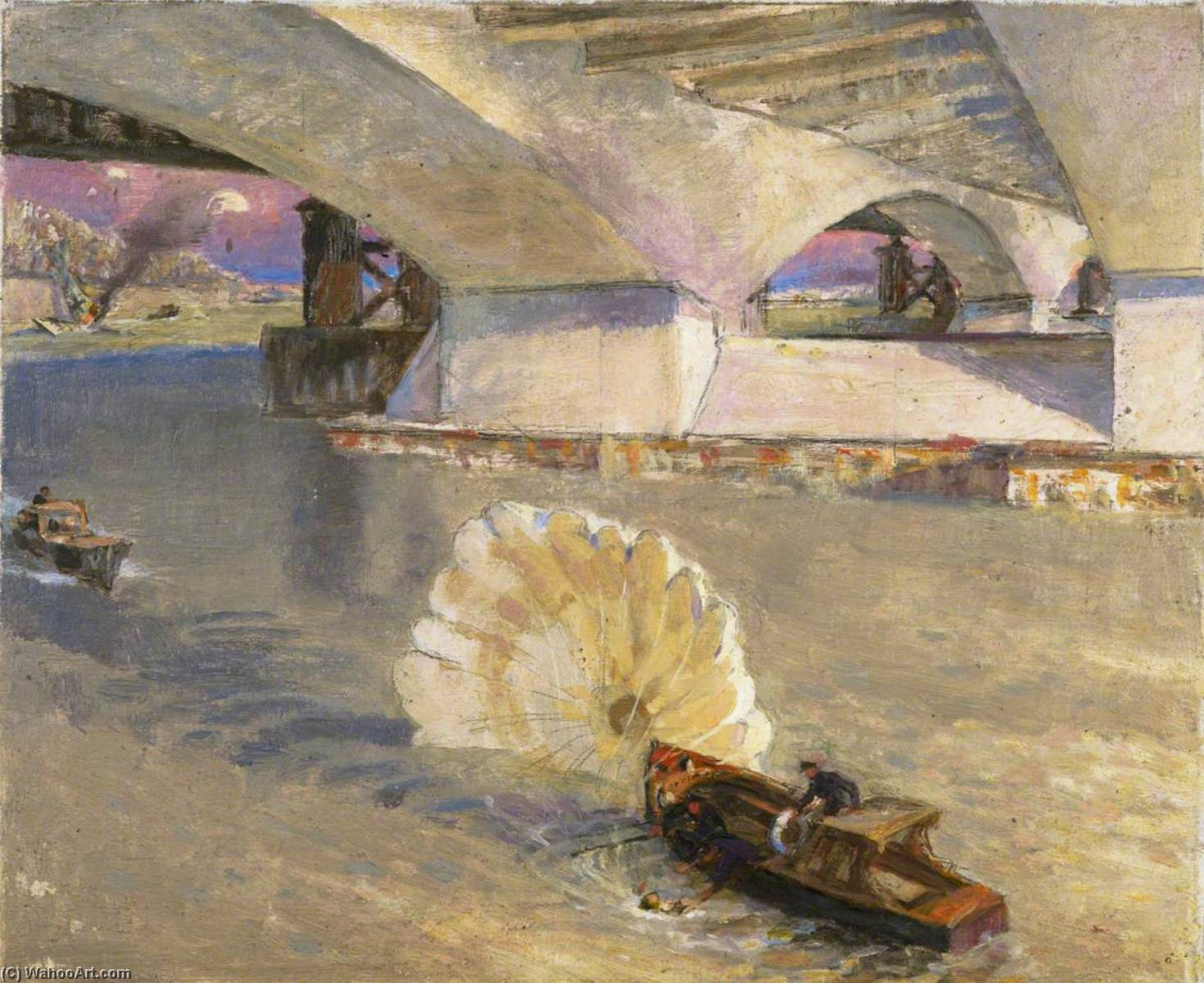 Order Art Reproductions | Wartime Traffic on the River Thames River Police at Waterloo Bridge during the Battle of Britain, 1942 by John Edgar Platt | WahooArt.com
