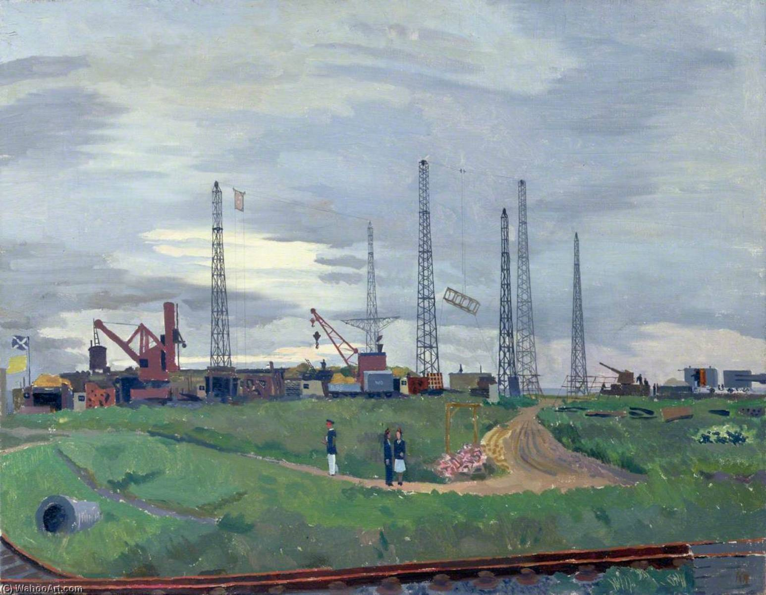 The Experimental Establishment, Shoeburyness Firing through Screens, 1945 by Kenneth Rowntree | Painting Copy | WahooArt.com