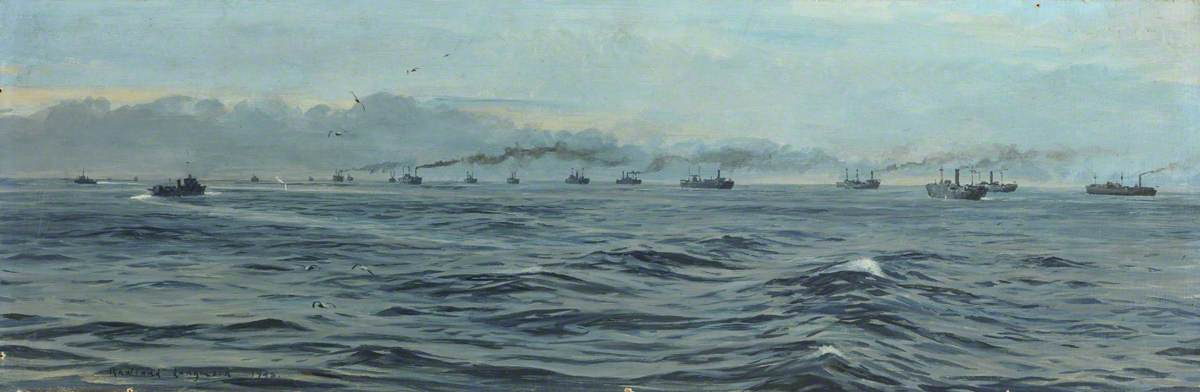 Convoy at Sea, 1943, Oil On Canvas by Rowland Langmaid