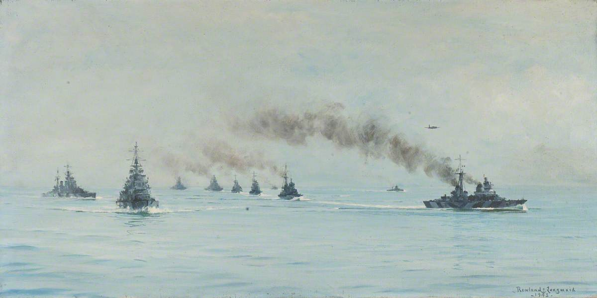 The Surrendered Italian Fleet with HMS 'King George V' and 'Howe', 1943, Oil On Canvas by Rowland Langmaid