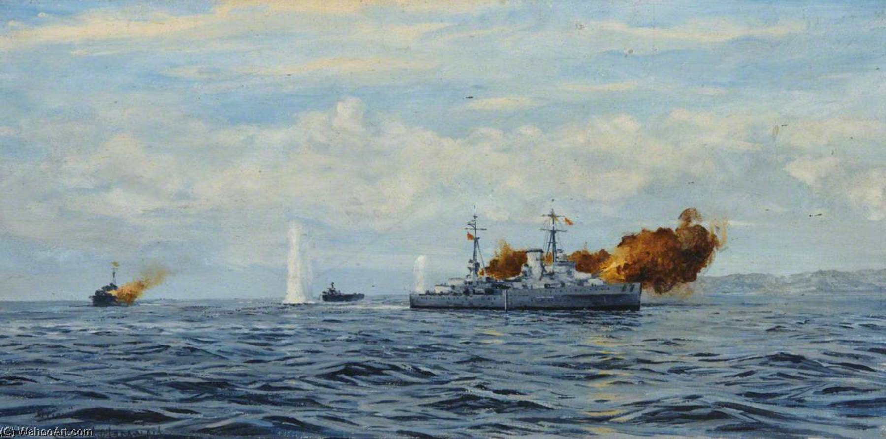 HMS 'Orion' Bombarding a Coast, Oil On Canvas by Rowland Langmaid