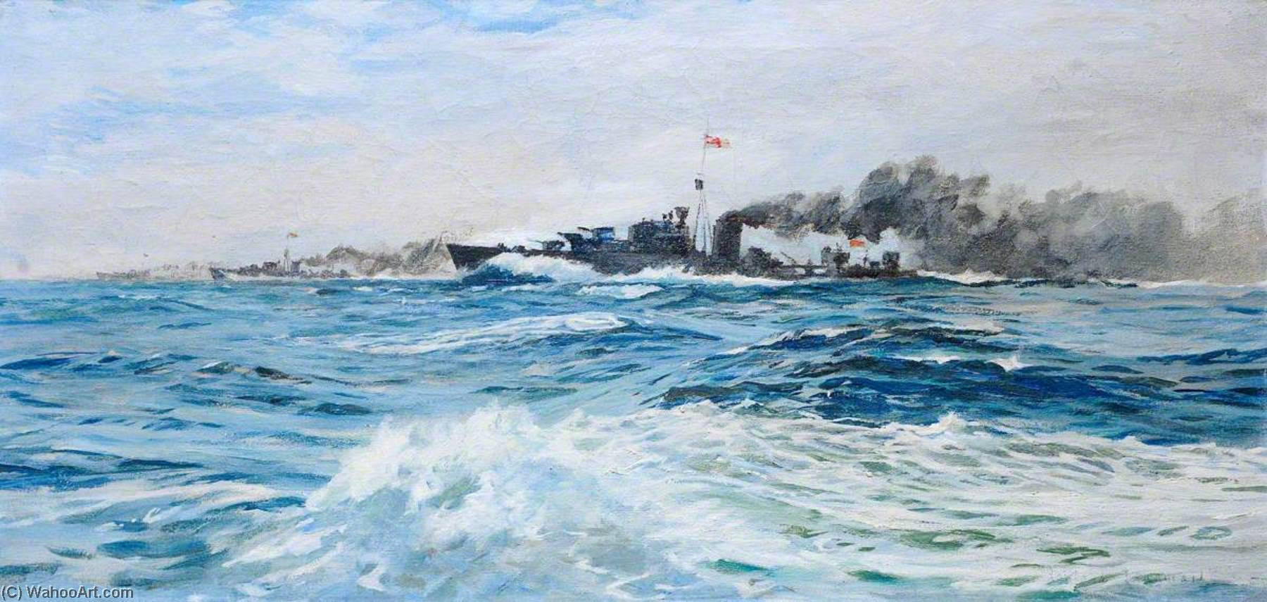 Destroyer Attacking the 'Littorio', Oil On Canvas by Rowland Langmaid