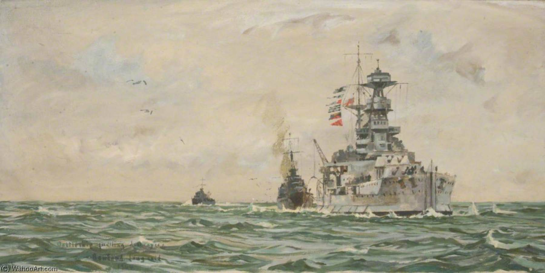 HMS 'Malaya' Refuelling Destroyers at Sea, Oil On Canvas by Rowland Langmaid