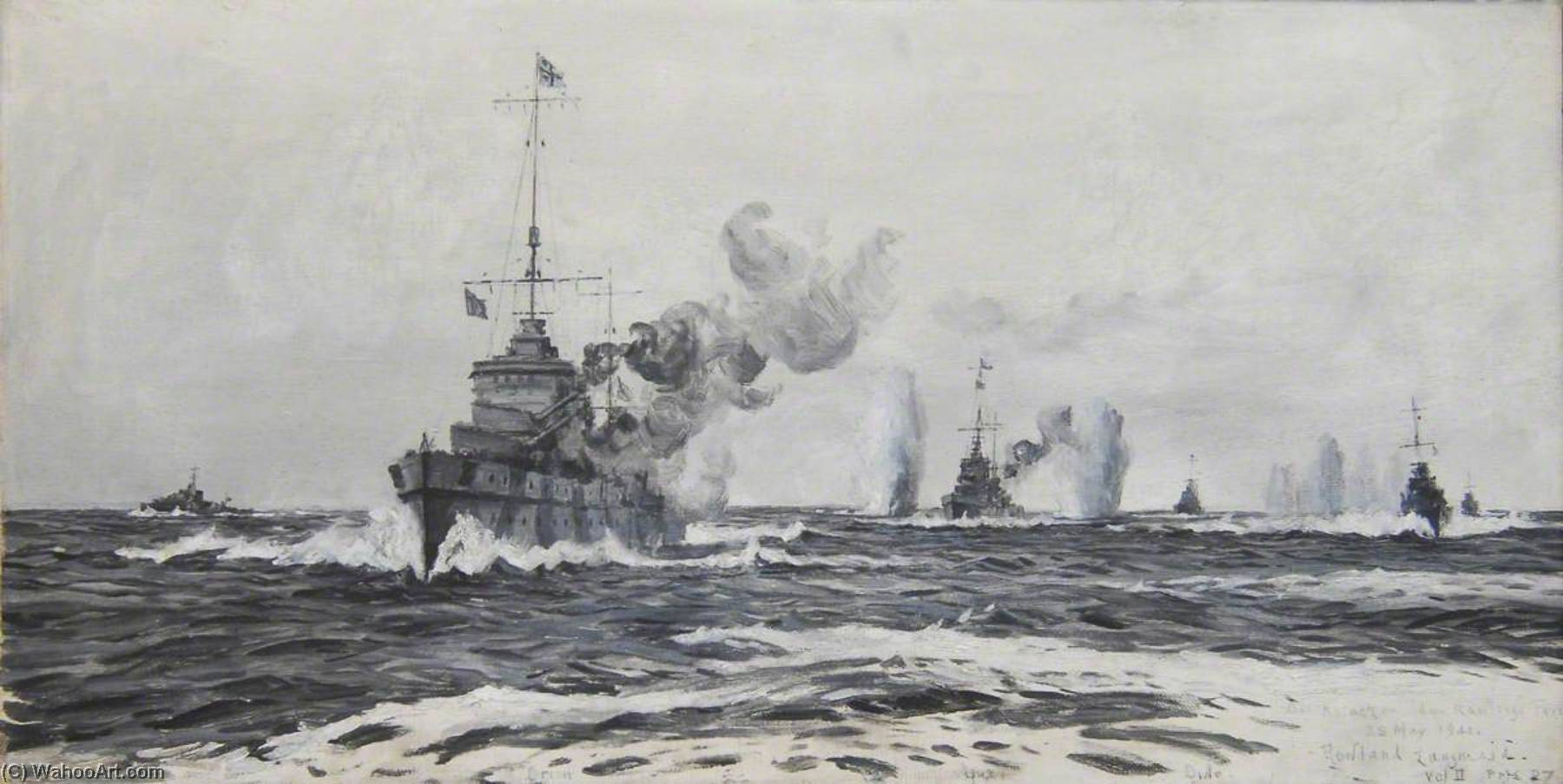 An Attack on Admiral Rawling's Force, 28 May 1941, Oil On Canvas by Rowland Langmaid
