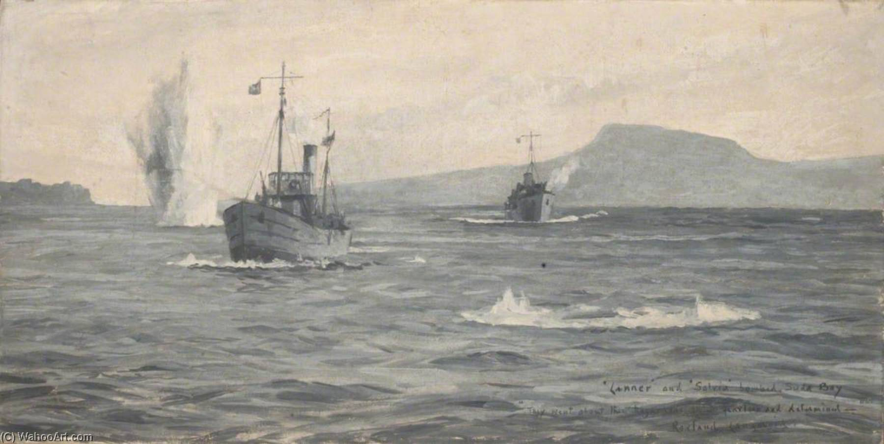 HMS` Lanner` and `Salvia` under Bomb Attack in Suda Bay, 1941 by Rowland Langmaid | Museum Quality Reproductions | WahooArt.com