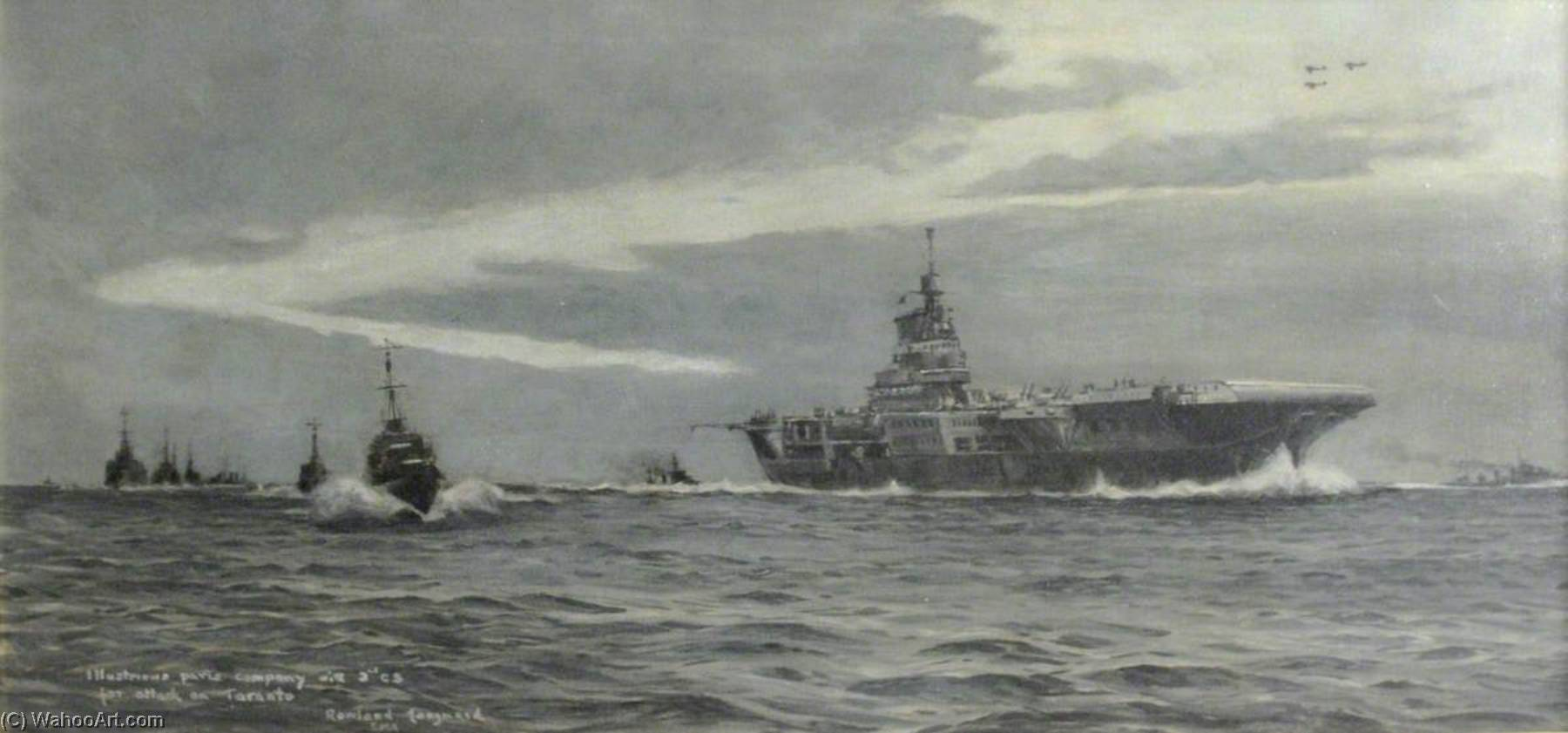 HMS `Illustrious`, Attack on Taranto, 1945 by Rowland Langmaid | Painting Copy | WahooArt.com