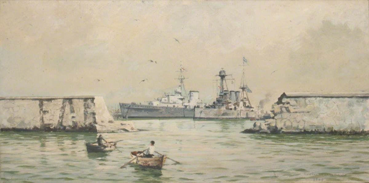 The Greek Cruiser 'Averoff' at Piraeus, Oil On Canvas by Rowland Langmaid