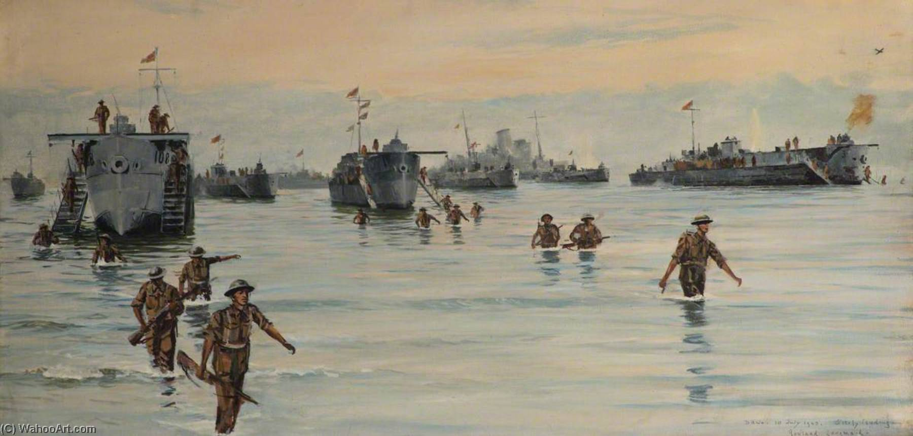 Landing at Sicily, 10 July 1943, Oil On Canvas by Rowland Langmaid
