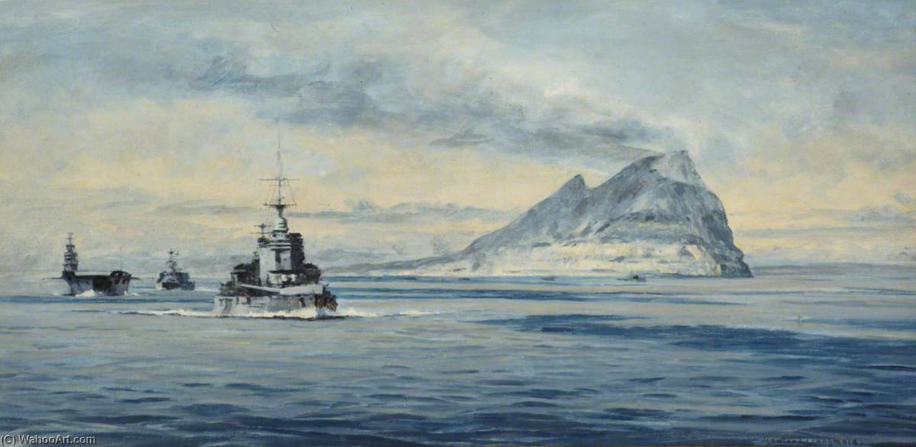 Force H off Gibraltar, 1940, Oil On Canvas by Rowland Langmaid