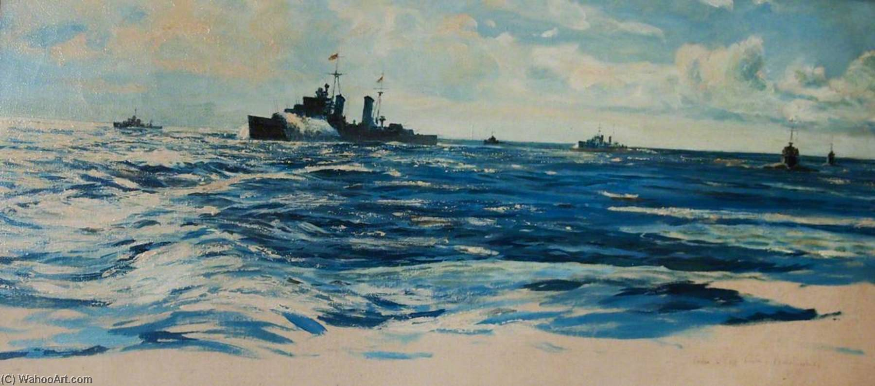 Warships at Sea, Oil On Canvas by Rowland Langmaid