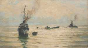 Rowland Langmaid - Picking up Survivors from a Sinking U boat