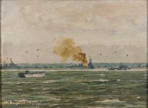 Rowland Langmaid - Off 'Mike' Beach from the King's Ship D10, 16 June 1944