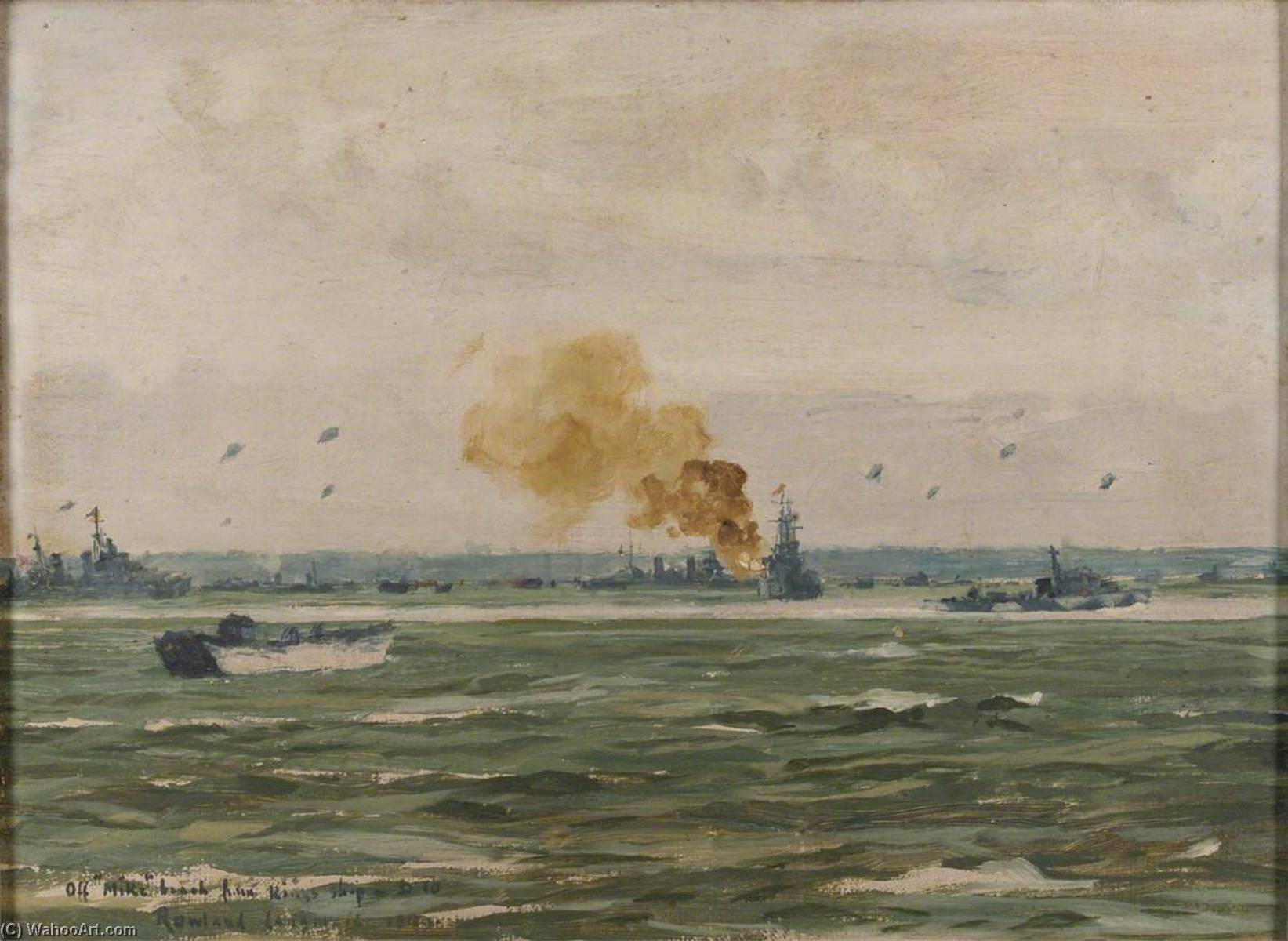 Off 'Mike' Beach from the King's Ship D10, 16 June 1944, Oil On Canvas by Rowland Langmaid
