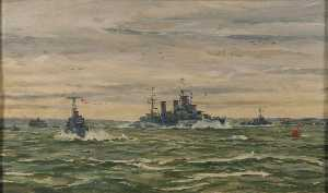Rowland Langmaid - HM The King Leaves for Normandy in HMS -Arethusa-, 16 June 1944