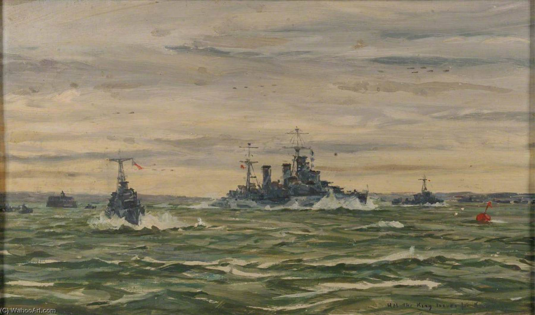 HM The King Leaves for Normandy in HMS 'Arethusa', 16 June 1944, Oil by Rowland Langmaid