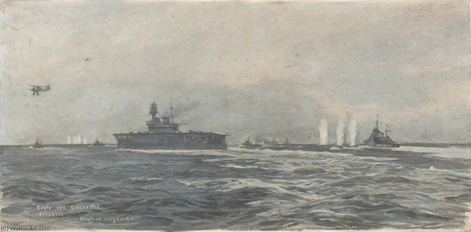 HMS 'Eagle' and 'Gloucester' off Calabria, 9 July 1940, Oil On Canvas by Rowland Langmaid