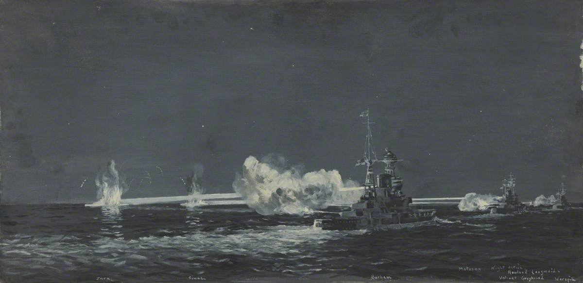The Battle of Matapan, 30 April 1941 by Rowland Langmaid | Painting Copy | WahooArt.com