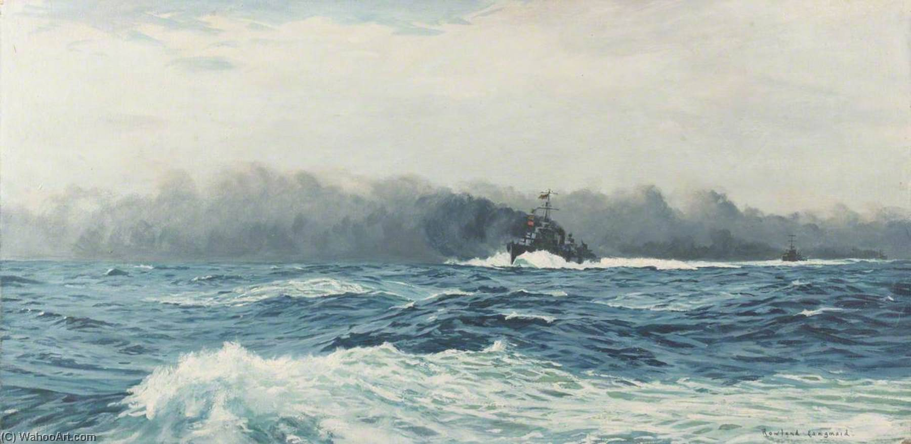 The Second Battle of Sirte, 22 March 1942, Oil On Canvas by Rowland Langmaid