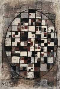 Trevor Stubley - Abstract Composition with Grid and Oval