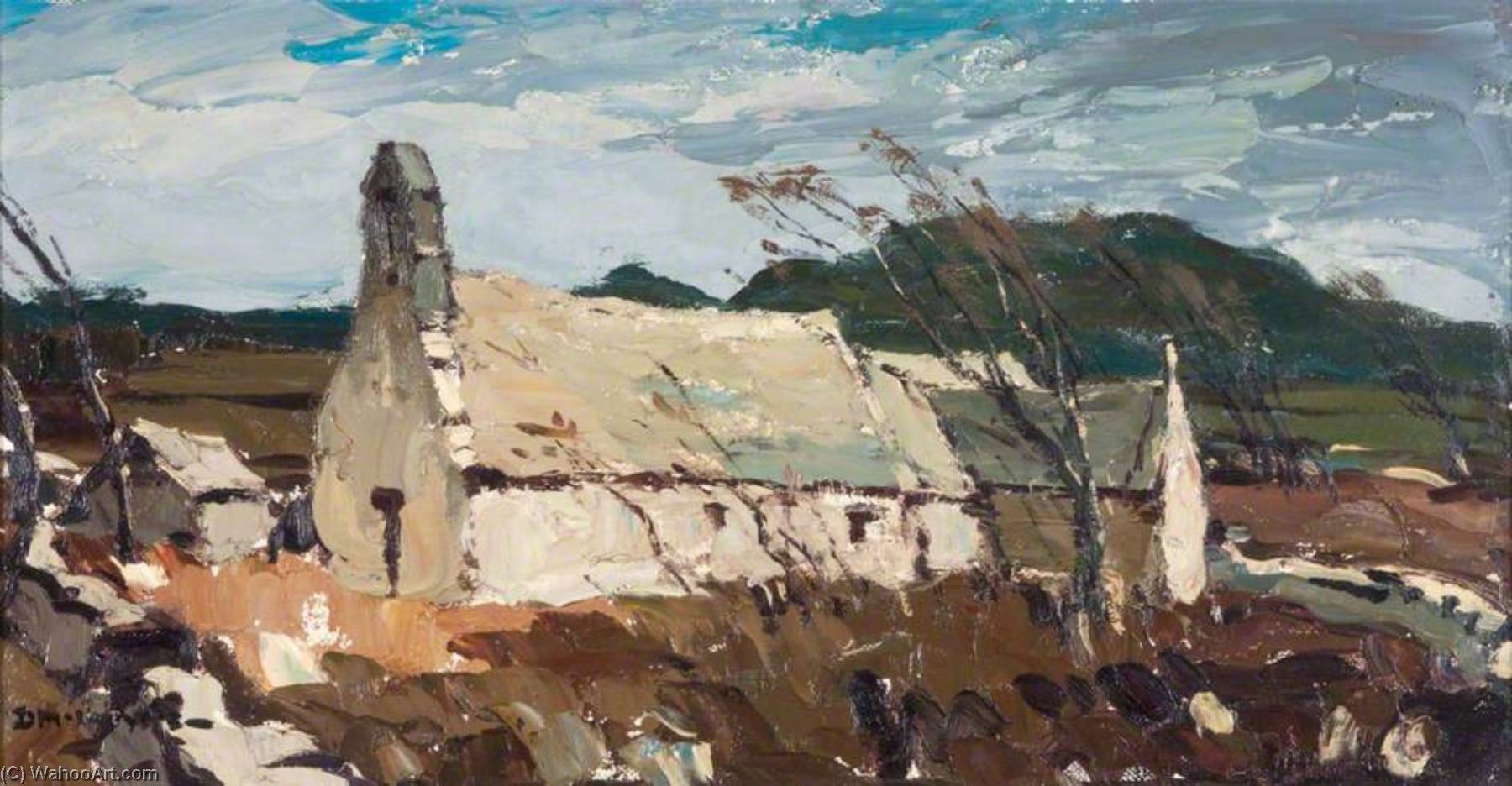 Old Church, Anglesey by Donald Mcintyre | Paintings Reproductions Donald Mcintyre | WahooArt.com