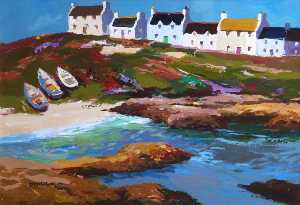 Donald Mcintyre - Boats on the Grass, Portnahaven