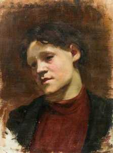 Kate Ethel Cowderoy - Study of a Girl in Red Jumper (Bushey Museum)