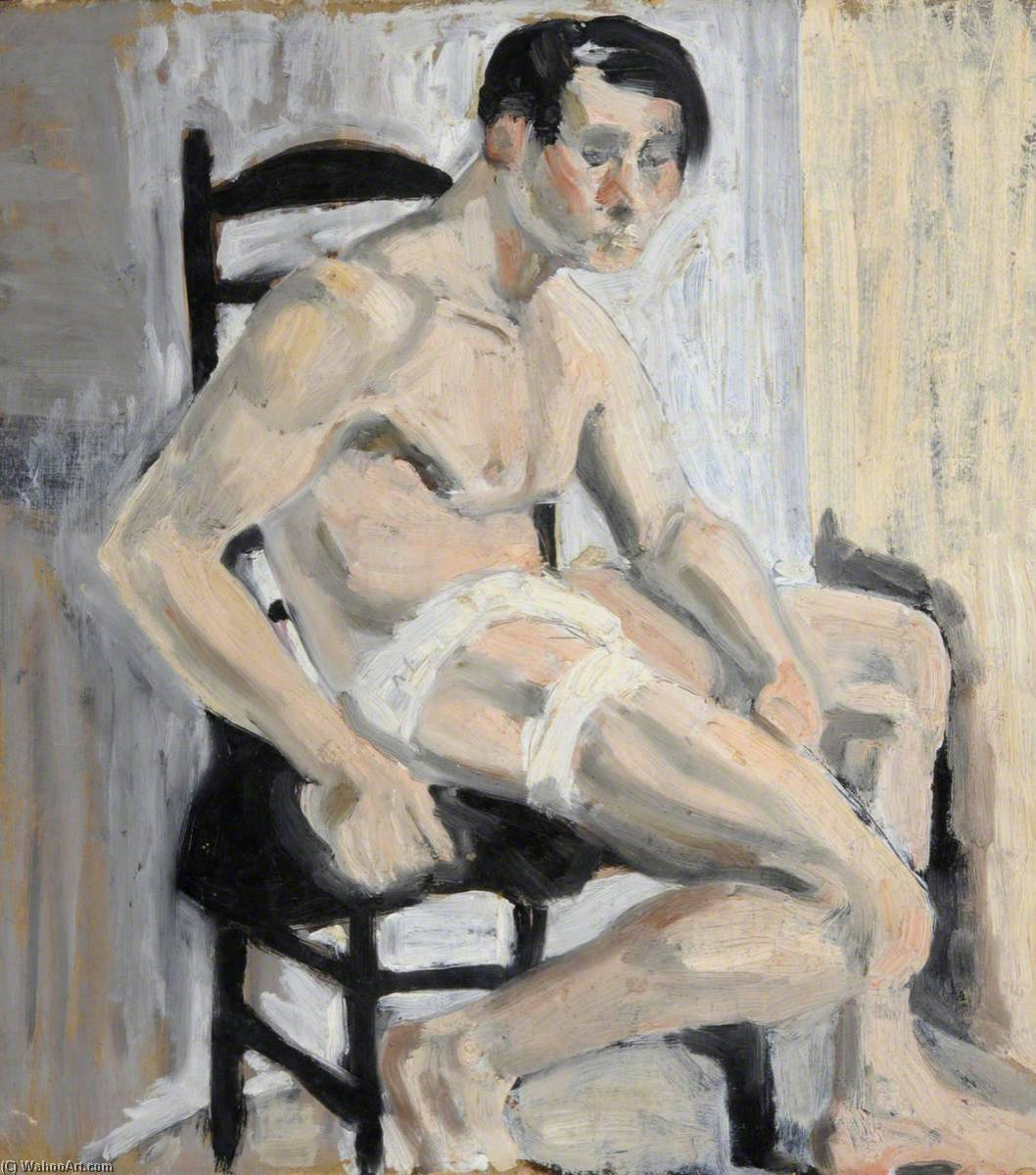 Seated Man (recto), Oil by Rosamund Ross
