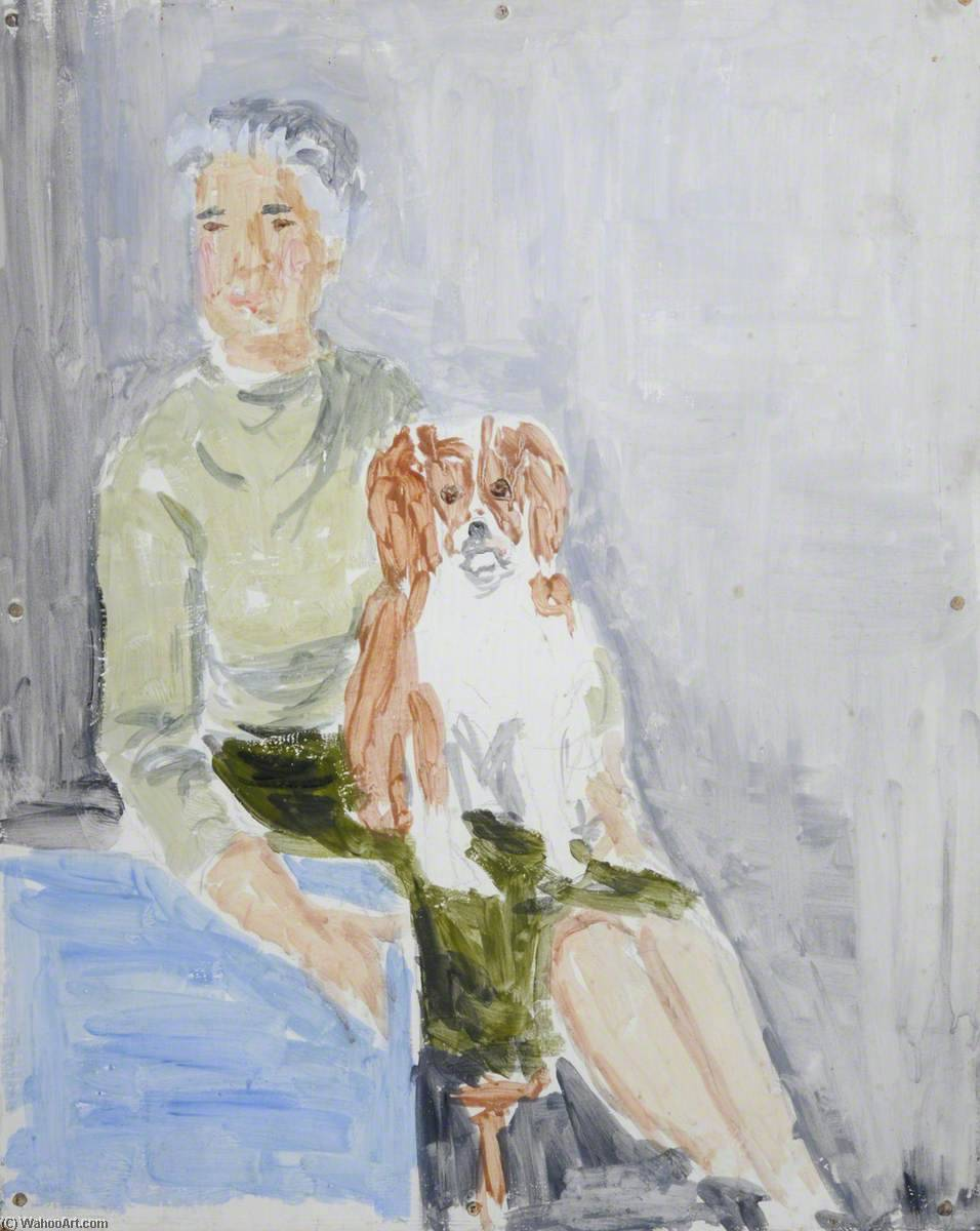 Woman and Dog, Oil by Rosamund Ross