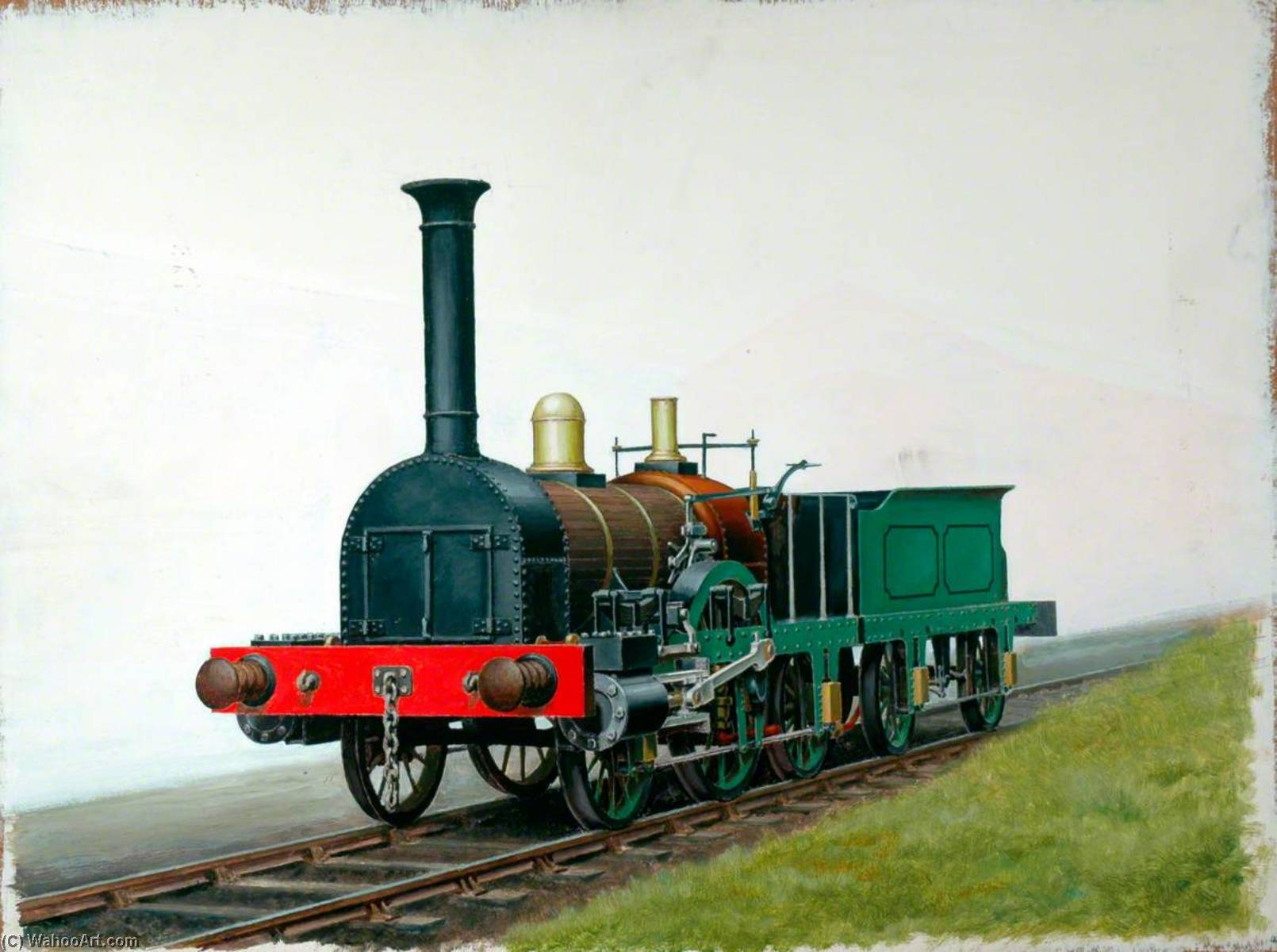 2–2–2 Locomotive Built by George Forrester, Oil by Henry Maurice Whitcombe