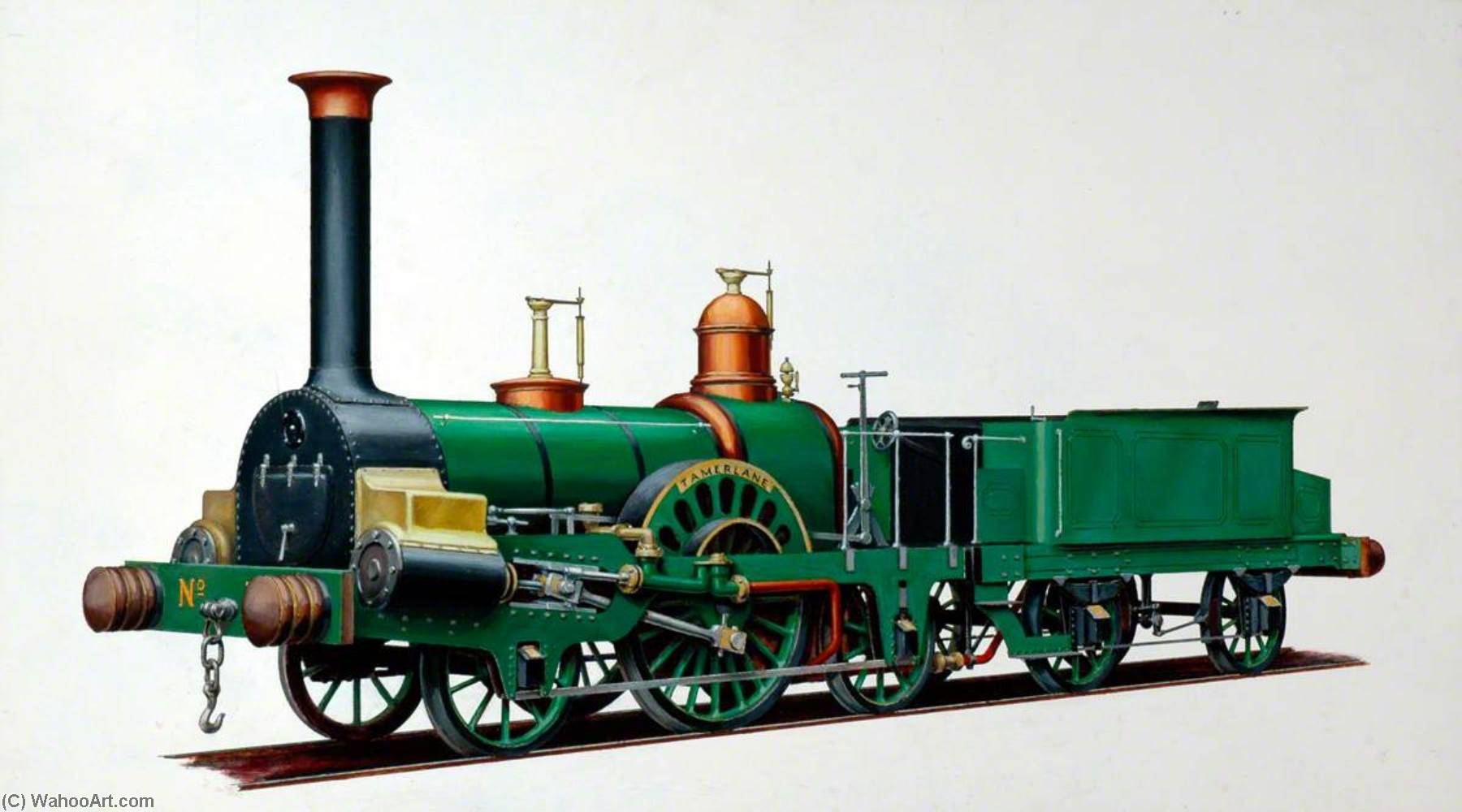 Grand Junction Railway 2–2–2 Locomotive 'Tamerlane', Oil by Henry Maurice Whitcombe