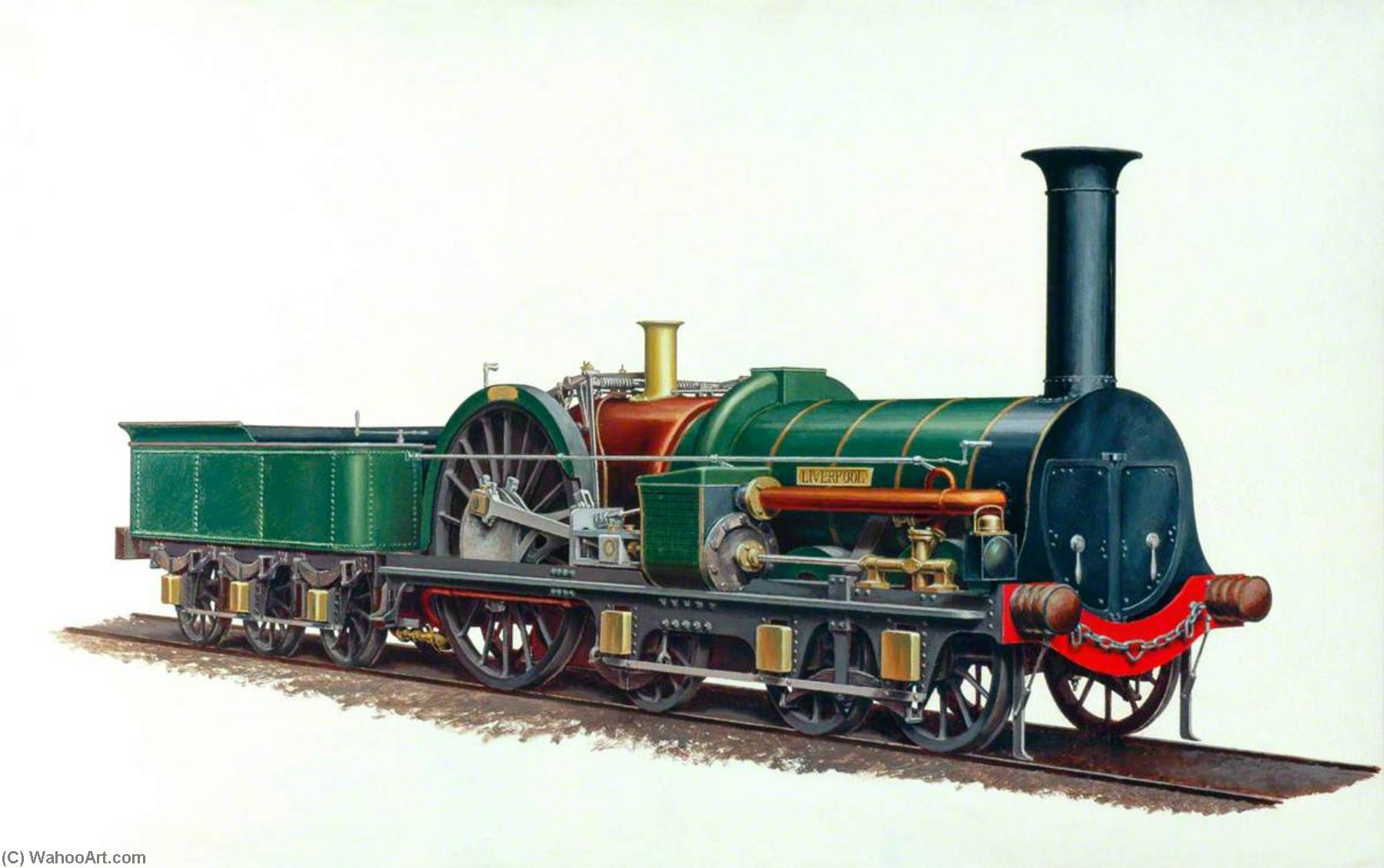 London and North Western Railway 6–2–0 Locomotive `Liverpool` by Henry Maurice Whitcombe | Art Reproduction | WahooArt.com