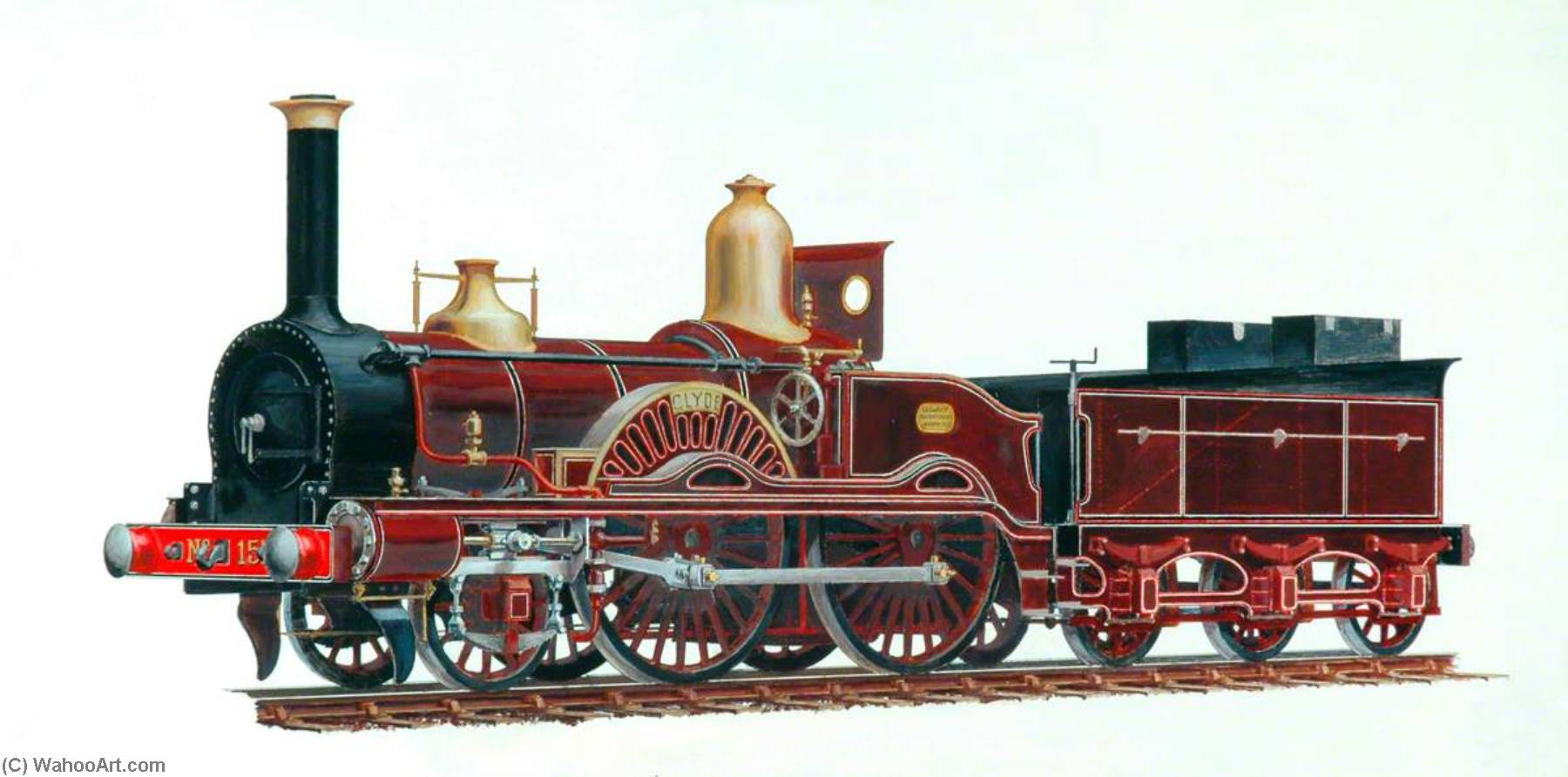 Order Museum Quality Reproductions : London and South Western Railway 2–4–0 Locomotive `Clyde` by Henry Maurice Whitcombe | WahooArt.com