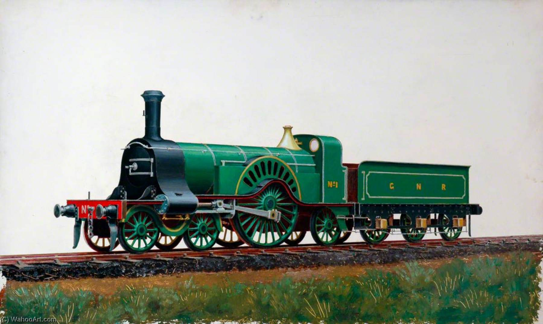 Great Northern Railway 4–2–2 Locomotive No.1, Oil by Henry Maurice Whitcombe