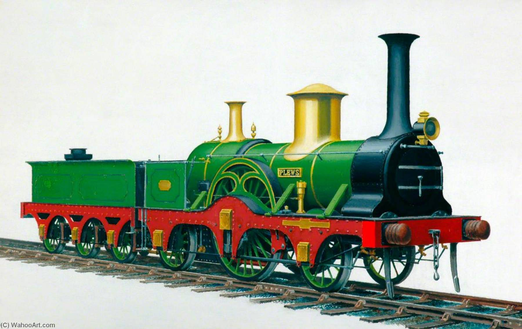 York, Newcastle and Berwick Railway 2–2–2 Locomotive 'Plews', Oil by Henry Maurice Whitcombe