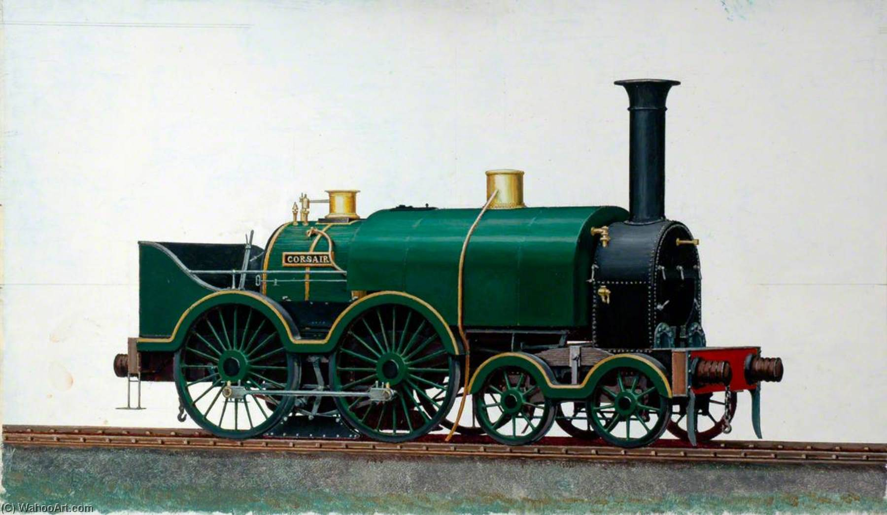 Great Western Railway 4–4–0 Saddletank Locomotive 'Corsair', Oil by Henry Maurice Whitcombe