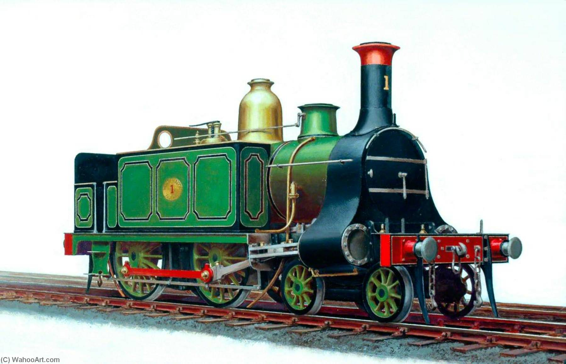 Order Famous Paintings Reproductions : North London Railway 4–4–0T Locomotive No.1 by Henry Maurice Whitcombe | WahooArt.com