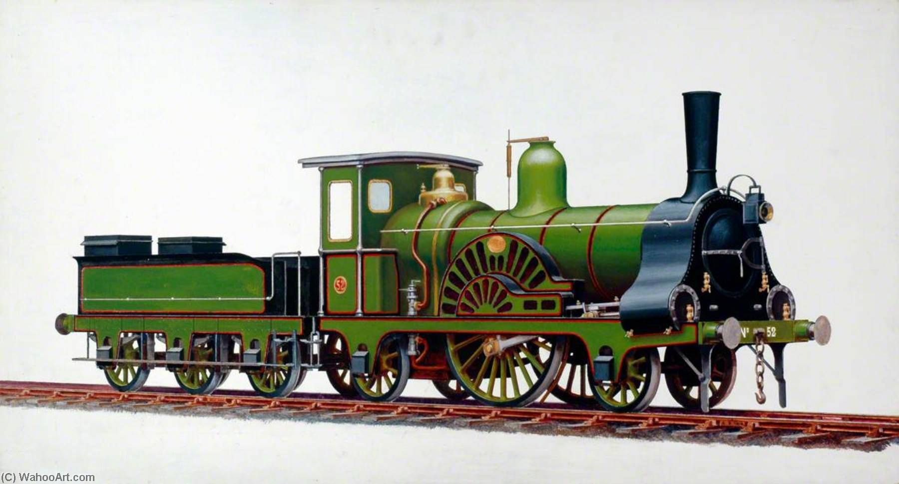 Great Eastern Railway 2–2–2 Locomotive No.52 by Henry Maurice Whitcombe | WahooArt.com