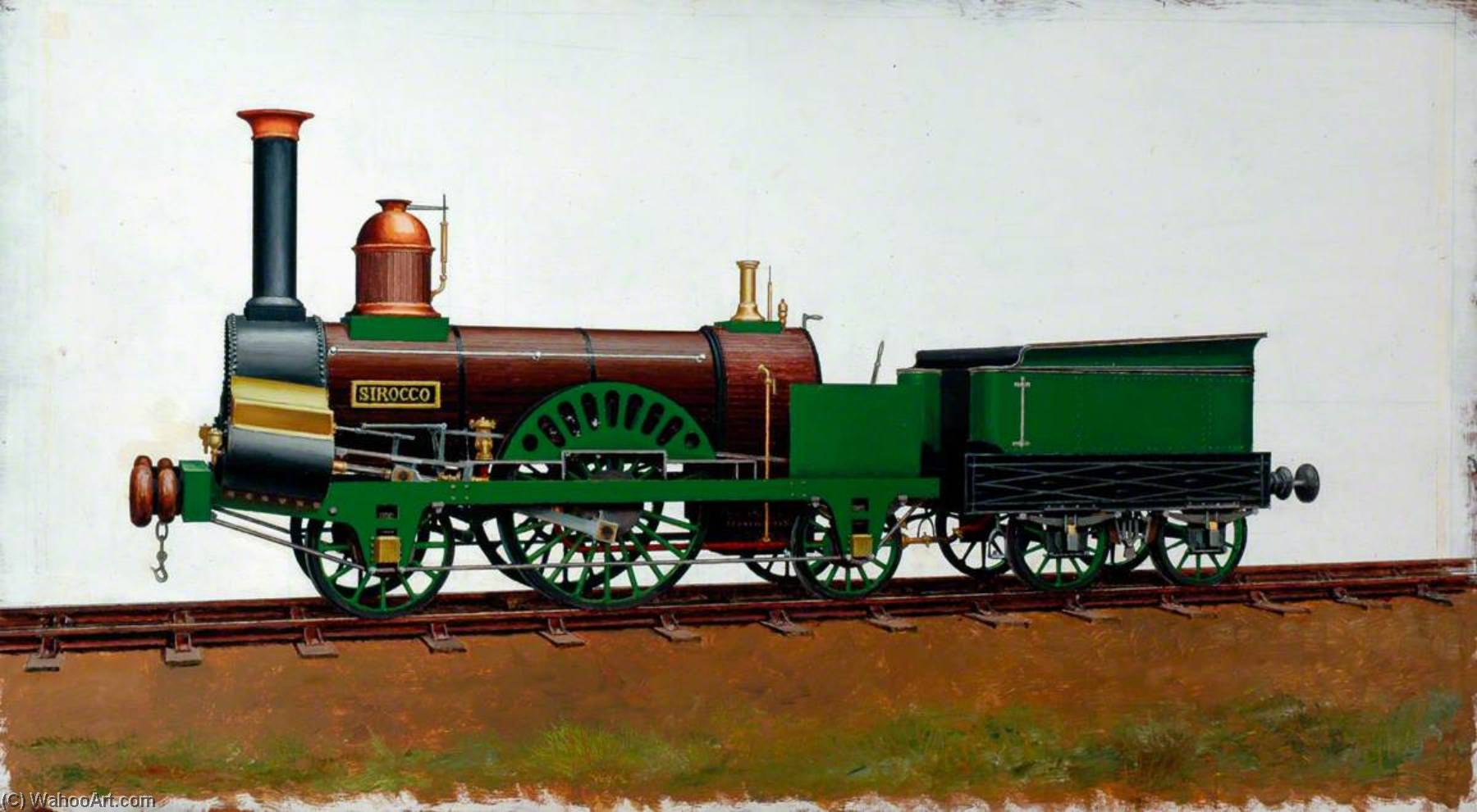 Grand Junction Railway 2–2–2 Locomotive 'Sirocco', Oil by Henry Maurice Whitcombe