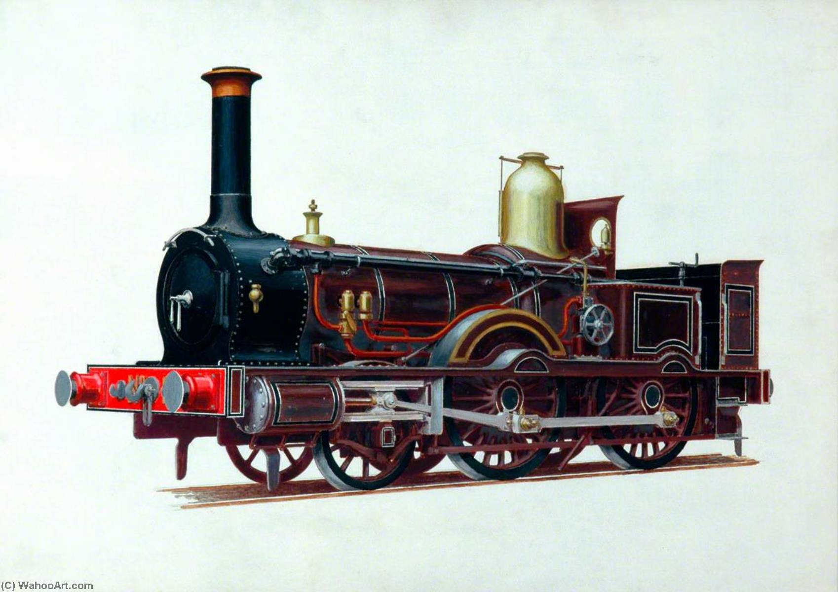 London and South Western Railway 2–4–0 Well Tank Locomotive, Oil by Henry Maurice Whitcombe