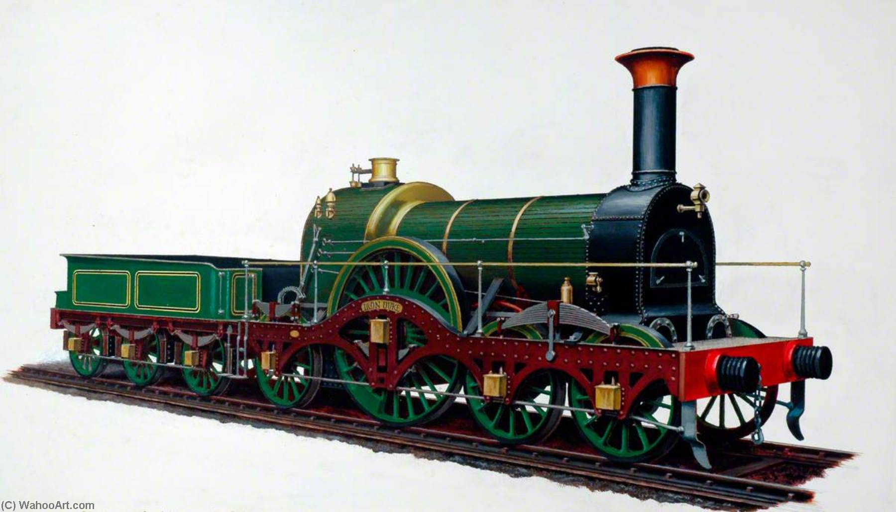 Great Western Railway 4–2–2 Locomotive 'Iron Duke', Oil by Henry Maurice Whitcombe