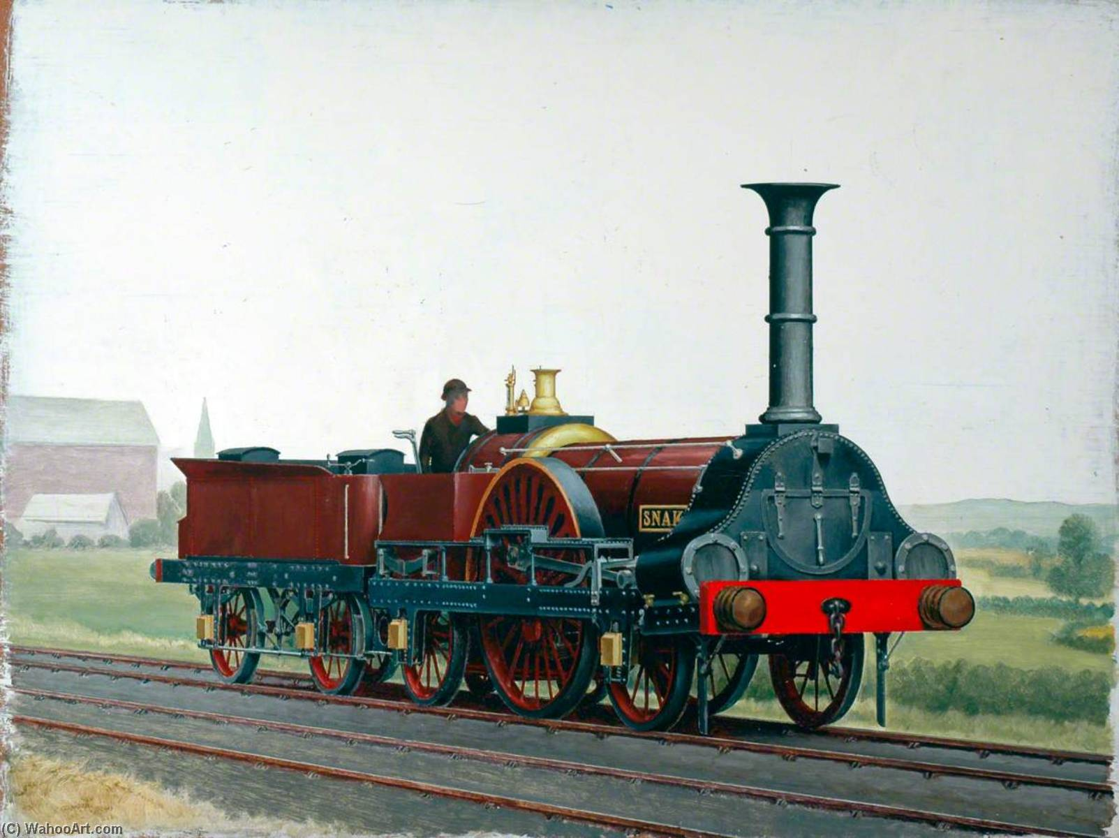 London and South Western Railway 2–2–2 Locomotive 'Snake', Oil by Henry Maurice Whitcombe