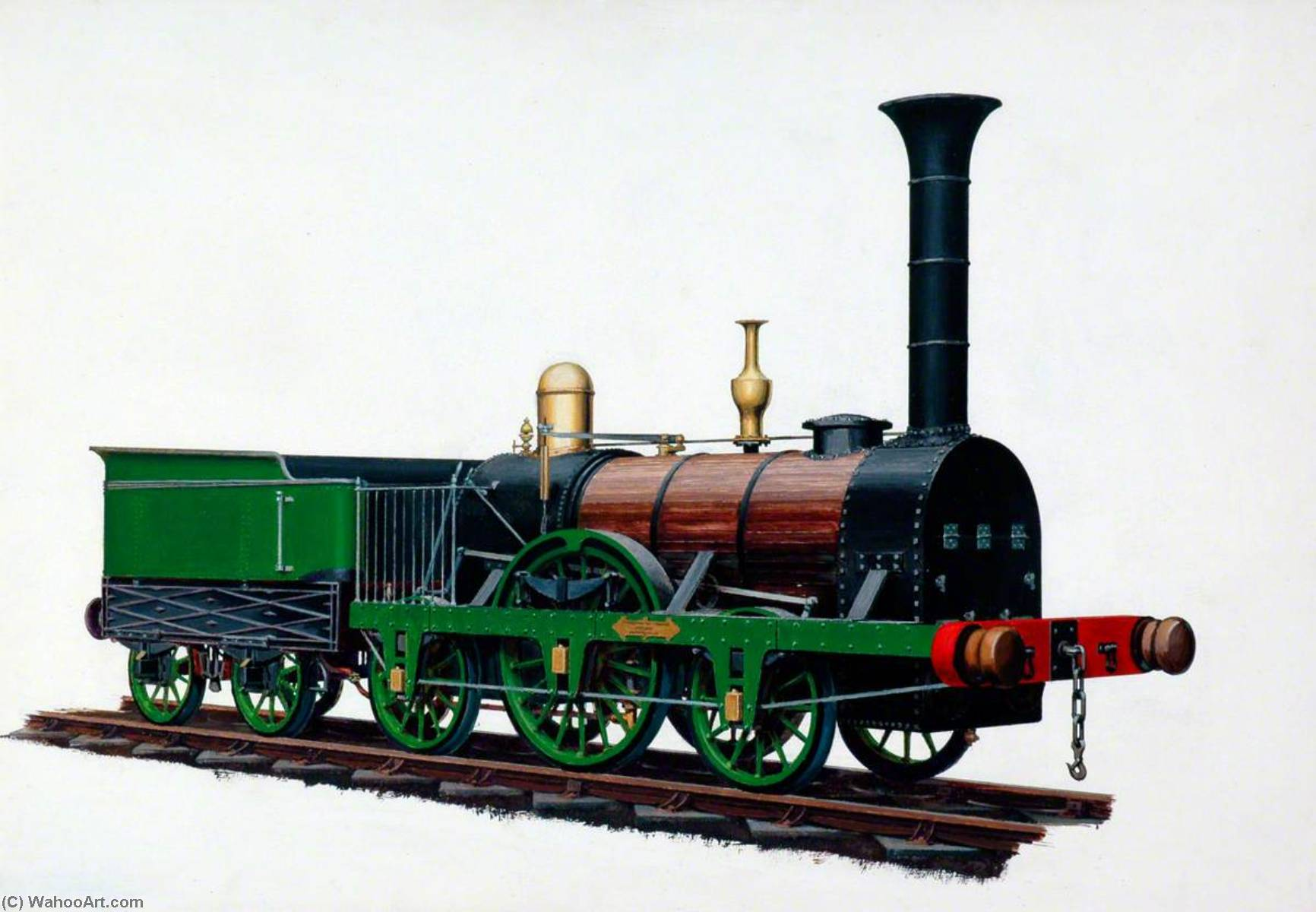 2–2–2 Locomotive 'Patentee', Robert Stephenson's Patent Locomotive, Oil by Henry Maurice Whitcombe