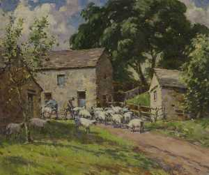 Gertrude Crompton - Sheepshearing in the Dales