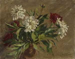 Gertrude Crompton - White and Burgundy Flowers in a Brown Vase