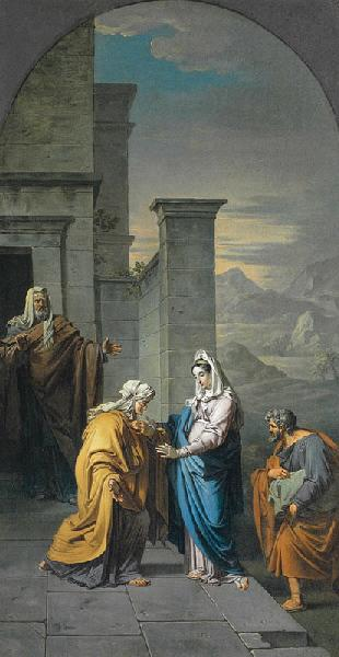 La Visitation, Oil by Roques Joseph (1757-1847)
