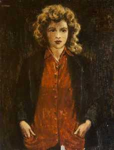 William Conor - Portrait of a Girl in a Red Cardigan