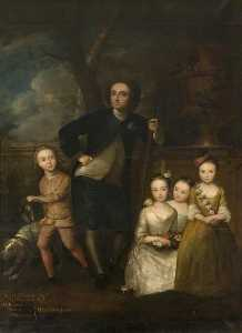Philippe Mercier - Sir Thomas Samwell (1687–1757), with His Four Children Thomas, Millicent, Mary and Frances