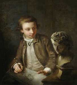 Philippe Mercier - A Boy Drawing from the Antique