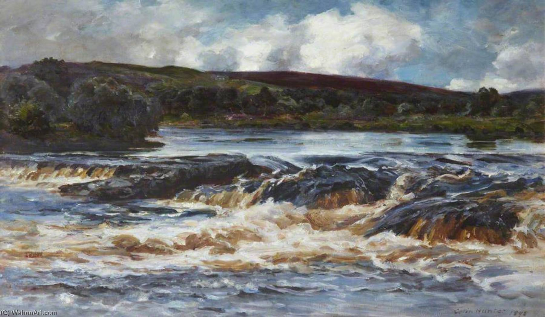Highland Waterfall, 1898 by Colin Hunter | Paintings Reproductions Colin Hunter | WahooArt.com