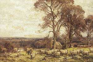 Owen Bowen - A Flock of Sheep and Trees